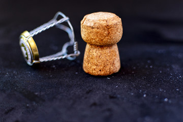 Cork and lid of a bottle of champagne