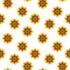 Seamless watercolor pattern of abstract hand-drawn graphic elements in the form of a flower on a white background. Botanical design in warm autumn tones of yellow, orange and red.