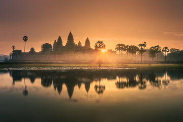 Sunrise view of ancient temple complex Angkor Wat Siem Reap, Cambodia