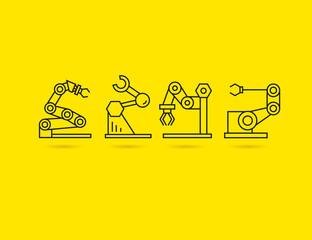 robotic arm, rescue robot icons, artificial intelligence concept