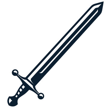 Monochrome vintage icon sword. Simple shape for design logo, emblem, symbol, sign, badge, label, stamp. Hand drawn vector illustration. Military weapons, isolated on white background.