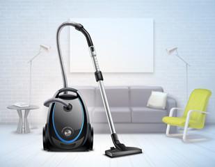 Realistic Vacuum Cleaner Interior Illustration