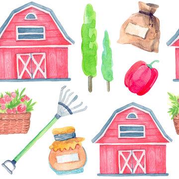 seamless pattern watercolor cartoon illustration. countryside. otsen, harvest time. barn, wood, rake, jam jar, bag.