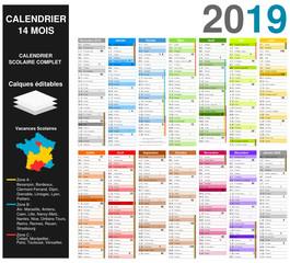 Calendrier 2019 sur 14 mois MODIFIABLE avec texte non vectorisés / Calendrier scolaire complet, semaine