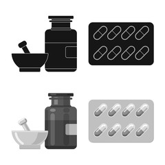 Isolated object of pharmacy and hospital symbol. Set of pharmacy and business stock vector illustration.