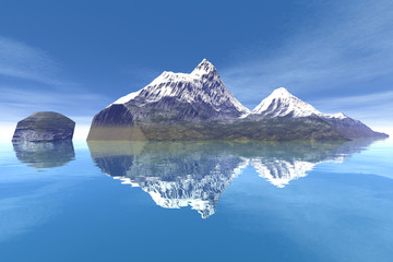 Snowy mountain, an alpine landscape, a beautiful island, reflection on water and a blue sky.