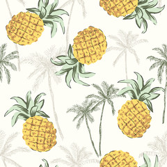 Tropical yellow pineapples, graphic palm trees on the white background. Vector seamless pattern. Jungle illustration. Exotic plants. Summer beach botanical design. Paradise nature