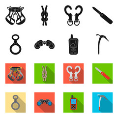 Isolated object of mountaineering and peak icon. Collection of mountaineering and camp vector icon for stock.