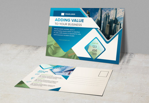 Postcard Layout with Abstract Elements and Blue Accents