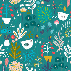 Seamless pattern with flowers in pots, palm branch, leaves and textures on soft pink. Creative jungle texture. Great for fabric, textile Vector Illustration