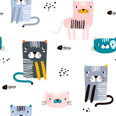 Seamless childish pattern with funny cats. Creative scandinavian kids texture for fabric, wrapping, textile, wallpaper, apparel. Vector illustration