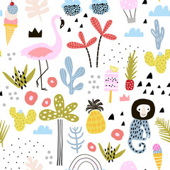 Seamless pattern with flamingo, leopard, monkey and tropical elements. Creative summer childish texture. Great for fabric, textile Vector Illustration