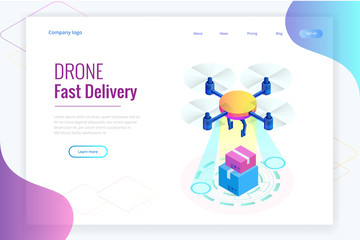 Isometric Drone Fast Delivery of goods in the city. Technological shipment innovation concept. Autonomous logistics Template for presentation, report design, website.