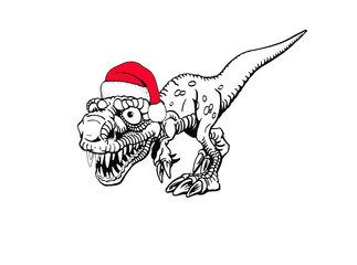 Graphical dinosaur in Santa Claus hat isolated on white background,vector new year illustration, raptor