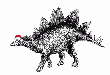 Graphical dinosaur in Santa Claus hat isolated on white background,vector new year illustration, stegosaurus