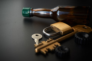 Conceptual image of prevent drink driving car lock