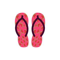 Pair of Colorful flip flops with watermelons .Vector Illustration