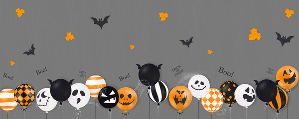 Happy Halloween. Trick or treat. Boo. Scary air balloons. Holiday concept with halloween glitter confetti ghost balloons funny faces for banner, website, poster, greeting card, party invitation.
