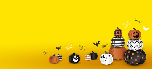 Happy Halloween. Trick or treat. Boo. Holiday concept with ghost orange, white, black halloween pumpkins funny faces, spider web for banner, website, poster, greeting card, party invitation.