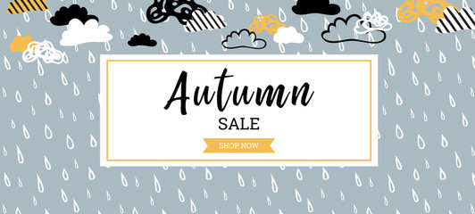 Autumn sale background banner for shopping sale or promo poster and frame leaflet or web banner. Vector illustration template.