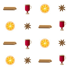 Vector pattern illustration with cinnamon sticks, irish glasses with mulled wine, orange slices and cardamon