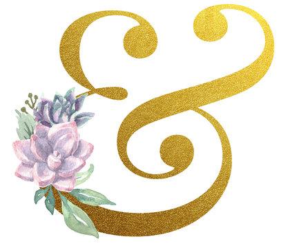 Watercolor Monogram Alphabet Ampersand Gold Foil