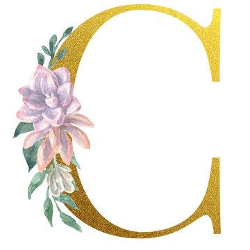 Watercolor Monogram Alphabet Letter C Gold Foil