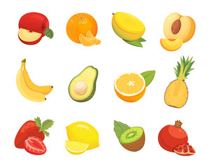Vegetarian food icons in cartoon style. Color fresh tropical organic fruits. Health fruity harvest illustration.