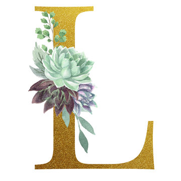 Watercolor Monogram Alphabet Letter L Gold Foil