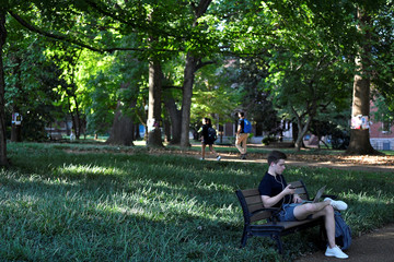 Students enjoying the open spaces on campus at Vanderbilt University in Nashville