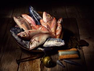 Natura morta con pesce fresco