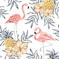 Tropical pink flamingo birds, hibiscus flowers bouquets, pineapples, palm leaves background. Vector seamless pattern. Jungle illustration. Exotic plants. Summer beach floral design. Paradise nature