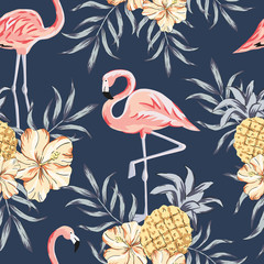 Tropical pink flamingo birds, hibiscus flowers bouquets, pineapples, palm leaves, navy background. Vector seamless pattern. Jungle illustration. Exotic plants. Summer beach floral design. Nature