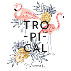 Tropical pink flamingo birds, palm leaves, pineapples, hibiscus flower, white background. Print for tee shirt template. Botanical vector illustration. Summer beach floral design. Paradise nature
