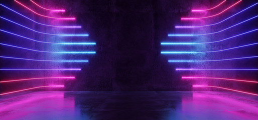 Futuristic Sci-Fi Modern Empty Stage Reflective Concrete Room With Purple And Blue Glowing Neon Tubes Shape Empty Space Wallpaper Background 3D Rendering