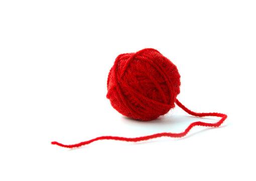 Ball of yarn on white background