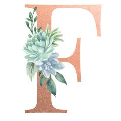 Watercolor Monogram Alphabet Letter F Rose Gold Foil