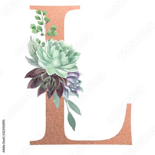 """""""Watercolor Monogram Alphabet Letter L Rose Gold Foil"""