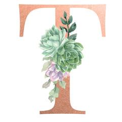 Watercolor Monogram Alphabet Letter T Rose Gold Foil