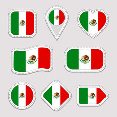 Mexico flag vector set. Mexican flags stickers collection. Isolated geometric icons. National symbols badges. Web, sport page, patriotic, travel, school, design elements. Different shapes