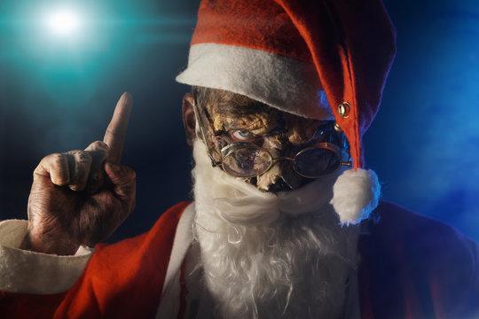 zombie Santa on dark background