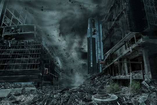 Portrayal of a City Destroyed by Hurricane, Typhoon or Tornado