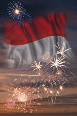Canvas Prints Textures Fireworks and flag of Indonesia