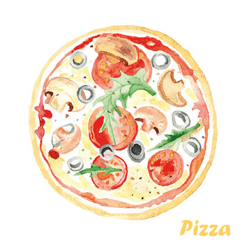 Watercolor Pizza. Hand painted realistic illustration on paper.
