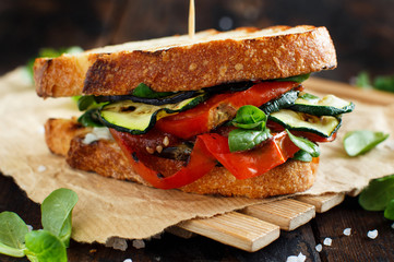 Wall Murals Snack Sandwich with grilled vegetables