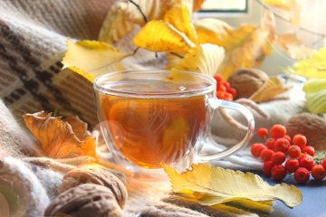 Still life, Autumn morning with a Cup of tea. A Cup of tea on a plaid background, surrounded by yellow leaves, red viburnum berries. The sincere warmth, family warmth, weekend, relax.