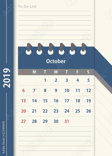 October 2019 Calendar Monthly Calendar Design Template In Vintage