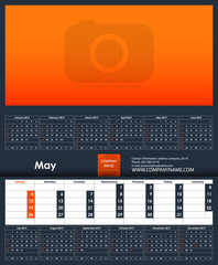 2019 Calendar template. May. Place for your photo