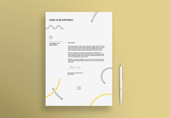 Letterhead Layout With Pastel Shapes