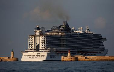 The cruise liner MSC Seaview leaves Valletta's Grand Harbour